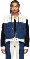 Gr Uniforma GR-Uniforma White and Blue Patchwork Jacket
