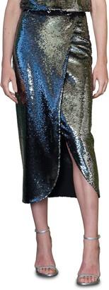 ML Monique Lhuillier Sequin Midi Skirt