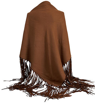 One Kings Lane Vintage Hermes Brown Cashmere/Leather Shawl - Vintage Lux