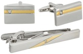 Stacy Adams Set Silver with Gold Strip and Diamond Cuff Links
