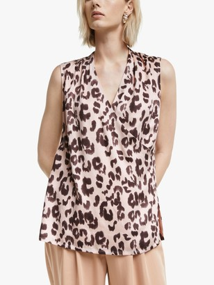 Mother of Pearl Tencel Sleeveless Leopard Print Wrap Top, Pink/Multi