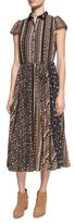 Alice + Olivia Bale Lace Insert Pleated Midi Dress, Multi Pattern