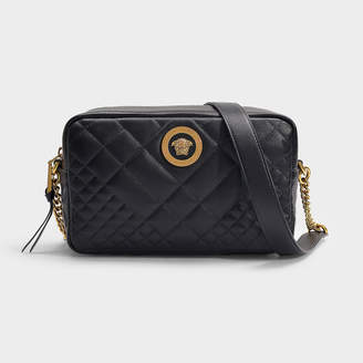 Versace Camera Bag In Black Quilted Lamb Leather