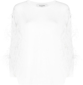 Valentino Feather-Trimmed Jumper