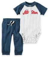 "Carter's 2-Piece ""Mommy's All-Star"" Bodysuit and Pant Set in Blue/Ivory"