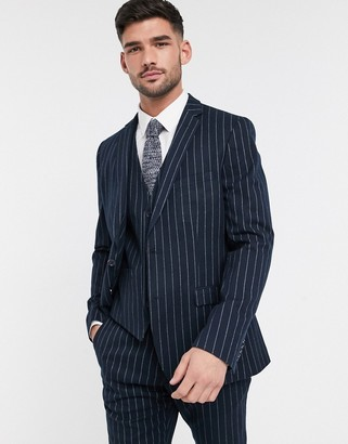 French Connection flannel chalk stripe slim fit suit jacket
