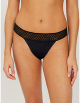 Thinx Mid-rise lace stretch-jersey thong
