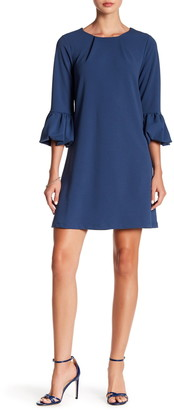 Nina Leonard Gathered Boatneck Shift Dress
