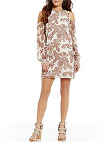 WAYF Greenport Cold Shoulder Paisley Floral Print Dress
