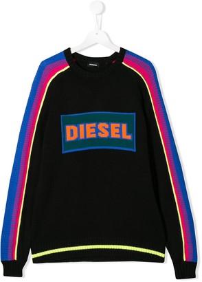 Diesel TEEN logo colour-block sweater