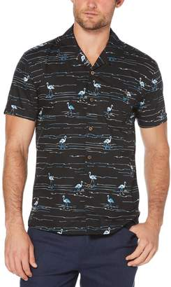 Cubavera Slim Fit Flamingo Print Camp Collar Shirt