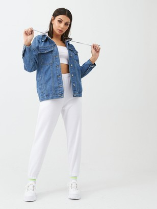 boohoo Denim Jacket With Jersey Hood - Blue