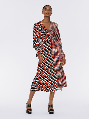 Diane von Furstenberg Michelle Silk Crepe de Chine Midi Dress