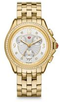 Michele Belmore Chronograph Diamond & Goldtone Stainless Steel Bracelet Watch