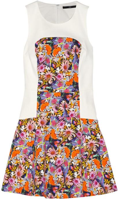 Tibi Floral-print paneled cotton-blend twill dress