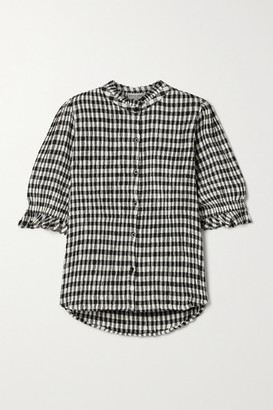 Apiece Apart Los Altos Gingham Organic Cotton-blend Seersucker Top - Black
