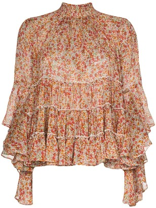 By Ti Mo Tiered Ruffled Chiffon Floral-Print Blouse
