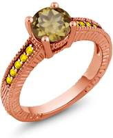 Gem Stone King 1.55 Ct Round Whiskey Quartz Yellow Sapphire 18K Rose Gold Plated Silver Ring