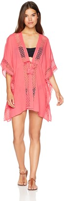 Vince Camuto Women's Caftan Cove up with Tie Front Detail