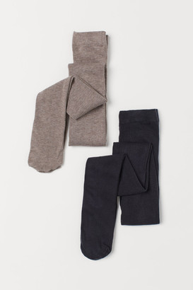 H&M 2-pack Fine-knit Tights - Brown