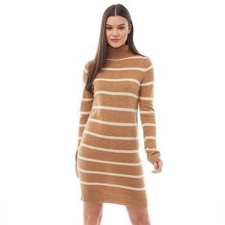 Brave Soul Womens Cuppa Roll Neck Dress Camel Ecru