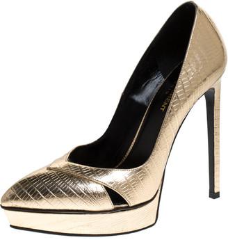 Saint Laurent Metallic Gold Lizard Embossed Leather Janis Cut Out Platform Pumps Size 38.5