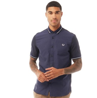 Fred Perry Mens Knitted Collar Oxford Short Sleeve Shirt Navy