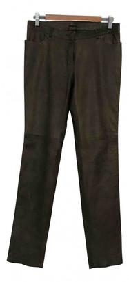 Plein Sud Jeans Khaki Leather Trousers