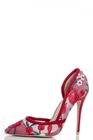 Quiz Red Mesh Flower Embroidered Court Shoes