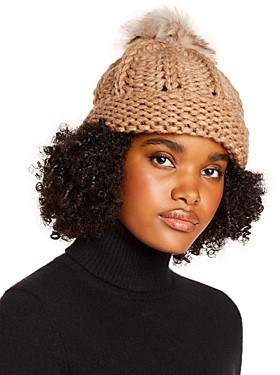 Aqua Faux Fur Pom-Pom Knit Hat