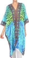 Sakkas KF1134KK Libra Long Caftan Dress / Cover Up With Tribal Print Rhinestons And V-Neck - TurqOrange- OS