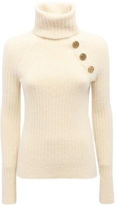 Balmain Wool Blend Knit Turtleneck Sweater