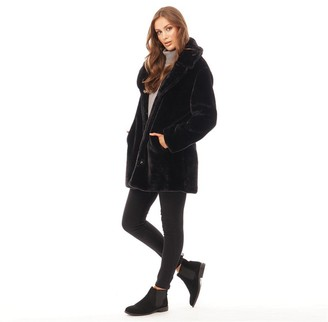 Brave Soul Womens Tasmin Faux Fur Coat Black