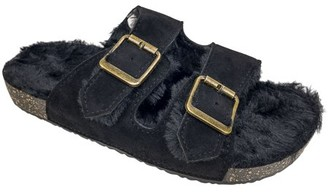 Secret Treasures Womens Luxe Faux Fur Two-Band Slide Slippers