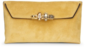 Alexander McQueen Four Ring soft suede pouch