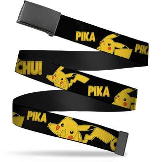 """Pokemon Buckle Down Buckle-Down Web Belt Pikachu Attack Poses PIKA-PIKA-CHU! Black/Yellow 1.25"""" Wide - Fits up to 42"""" Pant Size"""