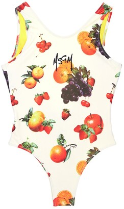 MSGM Fruit Printed Stretch One Piece Swimsuit
