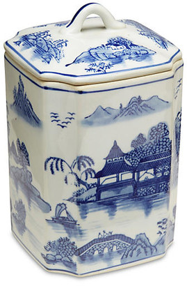 """One Kings Lane 8"""" Darcell Square Canister Blue/White"""