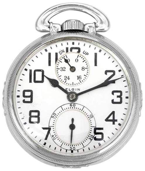 Elgin Railroad 14K White Gold 50mm Mens Pocket Watch