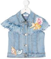 MonnaLisa patch-appliqué rayed denim jacket