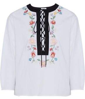 Vilshenko Bridget Lace-up Embroidered Stretch-cotton Poplin Blouse