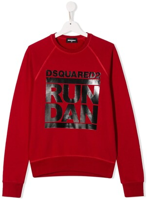 DSQUARED2 TEEN printed 'Run Dan' sweatshirt