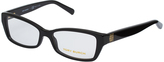 Tory Burch Black Gold-Accent Rectangle Eyeglasses