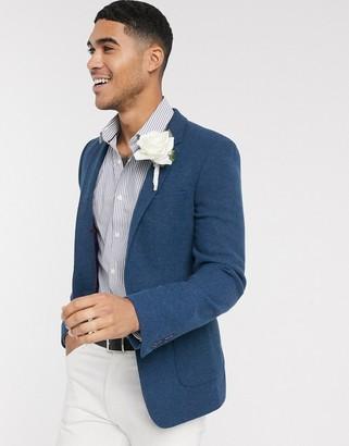 ASOS DESIGN super skinny blazer with wool mix twill in navy