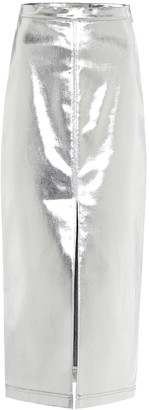 Fendi Coated denim midi skirt