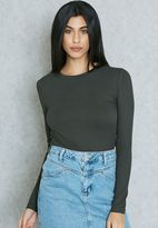Forever 21 Crew Neck Ribbed Knit Top