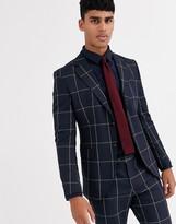 Jack & Jones Premium skinny fit window pane double breasted suit jacket in navy
