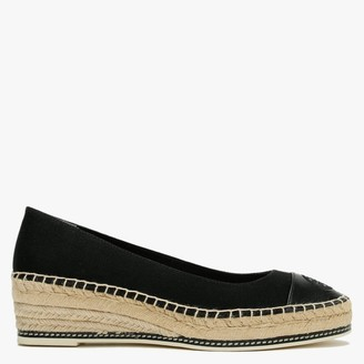 Tory Burch Colour Block 50MM Perfect Black Canvas Low Wedge Espadrilles