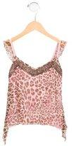 Miss Blumarine Girls' Leopard Print Silk Top