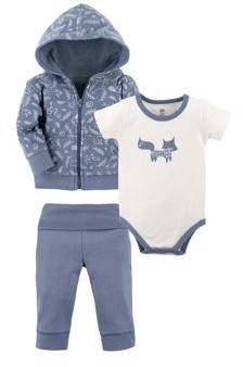 Yoga Sprout Baby Boy Hoodie, Short Sleeve Bodysuit & Pants, 3pc Outfit Set